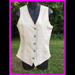 Tan Linen Vest, sz S
